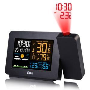 Projektionswecker für Schlafzimmer zeigt Innen. Mehrfarbige Projektionsuhr mit und Wettervorhersage