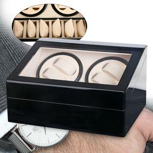 Uhrenbeweger Automatisch 4+6 Holz Uhrenbox Uhrenkasten Watchwinder Uhren Vitrine Schwarz