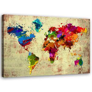 Leinwand, bunte Karte HORIZONTAL, hochwertiger Druck, Wanddekoration, Wandbild, Größe:60x40