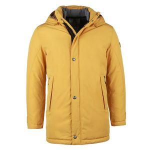Bugatti Herren Wintermantel Kapuze Jacke Zipper Seitentaschen Mantel Gelb 56