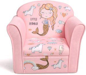 COSTWAY Kindersessel Meerjungfrau Kindersofa Kindercouch Babysessel für Mädchen und Jungen Kindermöbel Kinder Sessel Schaumstoff Rosa