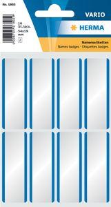 HERMA Namensetiketten 54 x 19 mm Acetat Seide blauer Rand 16 Etiketten