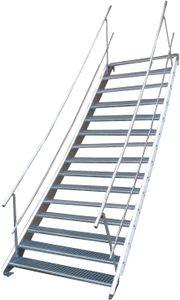 Stahltreppe 15 Stufen-Breite 100cm Variable-Höhe 250-320cm beidseit. Geländer