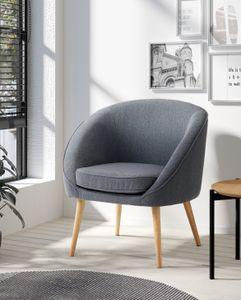 HOMEXPERTS Sessel OLAF, mit Webstoff-Bezug grau, Holzbeine , Polstersessel mit Armlehnen