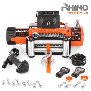 Rhino 12V Elektrische Seilwinde Stahl mit Fernbedienung und Mobilteil, 13,500lb/6125kg