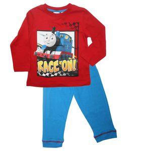 Jungen Pyjama | Größe 92 - 110 | Thomas & seine Freunde | Kinder Schlafanzug, Größe:104, Farbe:Rot / Hellblau
