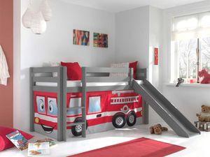 Pino Spielbett mit Rutsche 90x200 cm Feuerwehr, Matratze:Basic