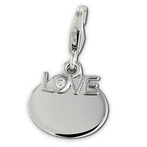 SilberDream Charms Anhänger Zirkonia 925 Silber Charm LOVE weiß Damen FC900W