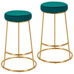 Duhome 2er Set Barhocker rund Barstuhl aus Stoff Samt petrol blau grün Gestell Metall