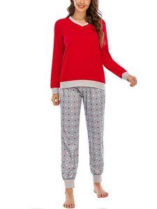 Damen Nachtwäsche Pyjama Nachtwäsche Pjs Sets Tops + Hose Homewear Loungewear,Farbe: Rot,Größe:XXL