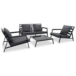 anlund 4-tlg. Garten-Lounge-Set mit Auflagen Aluminium Dunkelgrau