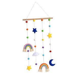Makramee Regenbogen Wandbehang Nachbildung Quaste Pom Ball String Banner für Kinderzimmer Wohnkultur Kinderzimmer Wohnheim Baby Shower Party Supplies Farbe EIN
