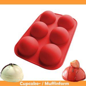 Miixia Silikon Mulden Backform Halbkugel Muffinform Törtchenform Silikonform Kuchenform Rot