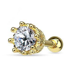Helix Cartilage Ohr Piercing Krone Zirkonia Stecker Tragus Barbell Kristalle Autiga® gold-klar