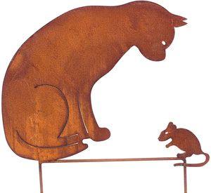 Gartenstecker Katze + Maus 50cm höhe Metall Rost Gartendeko Edelrost