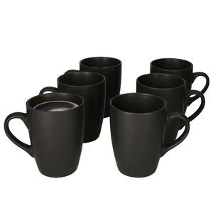 Lampart Nero 6-tlg. Kaffeebecher Set I 250 ml I 6 Personen I Schwarz I mit Henkel