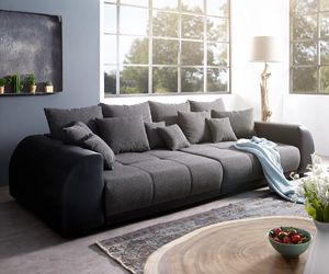 Bigsofa Violetta Schwarz 310x135 cm inklusive Kissen Big-Sofa