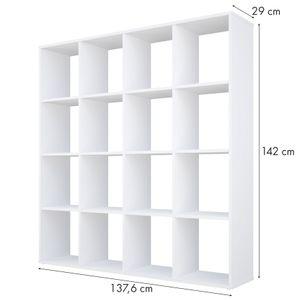 Polini Home Raumteiler Bücherregal H 142 x B 137,6 x T 29 cm, 16 Fächer, Farbe Weiß