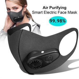 Wiederverwendbare Gesichtsmaske, Masken mit Atemventilen, Sportmasken zur Staub- und Nebelverhütung, elektrische PM2.5-Atemschutzmasken Masken,schwarzer Erwachsener