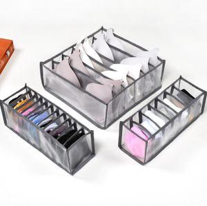 3 Stück / Set Faltbares Unterwäsche-aufbewahrungsboxfach, Grau Unterwäsche Und Bh-aufbewahrungsbox (groß 6 Zellen 7 Zellen 11 Zellen)