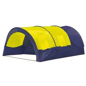 Tunnelzelt Campingzelt Familienzelt 6 Personen Gruppenzelt blau-gelb