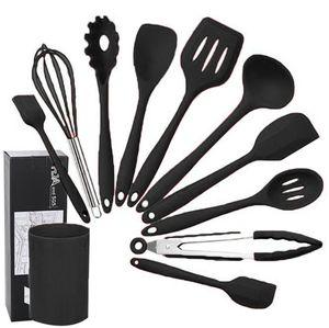 Silikon Küchengeschirr Set, 10 Stück Küchenhelfer Set Antihaft-Pfanne Küchen Kochgeräte Silikon-Geschirrset mit Lagereimer (Schwarz)