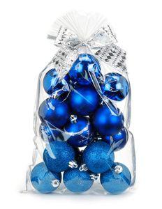 Weihnachtskugeln Muster Mix Kunststoff 6cm, 20er Set Tüte, Farbe:blau