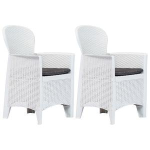 vidaXL Gartenstühle 2 Stk. mit Kissen Weiß Kunststoff Rattan-Optik