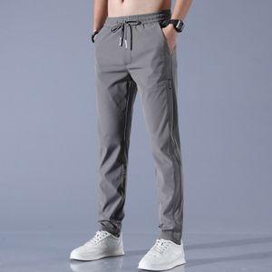Morydal Schnelltrocknende Herrenhose mit geradem Bein und mehreren Taschen lockere atmungsaktive Kordelzughose,Farbe: Dunkelgrau,Größe:30