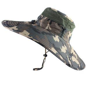 Schnell trocknendes Bucket Hat Breathable Männer Frauen Boonie Hut-Sommer-UV-Schutzkappe -(Camo,Kopf 54 bis 59cm)