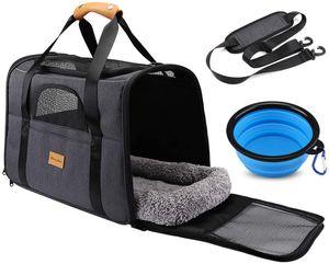 Morpilot Faltbare Hundetragetasche Katzentragetasche, hunde-transportboxen Oxford Gewebe-Grau Mittlere