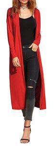 Re Tech UK - Damen Cardigan - Maxi-Länge - mit Kragen und langen Ärmeln - lockere Passform - Rot - 40-42