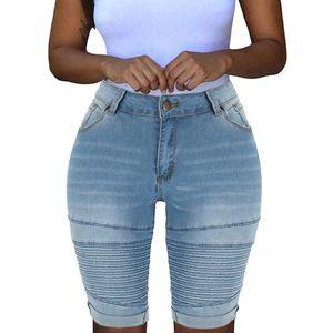 Frauen Elastic Destroyed Hole Leggings Kurze Hosen Jeansshorts Ripped Jeans Größe:XXXL,Farbe:Blau