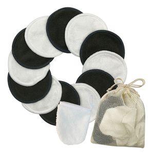 Baumwolle Wiederverwendbares Make-up Entferner Pad Gesichtsreiniger Pad Set Waschbar 12St Schwarz + Weiß Makeup Remover Wattepads