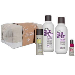KMS California Colorvitality Blonde Geschenkset - Shampoo 300ml + Conditioner 250ml + Hairplay Makeover Spray 75ml + Thermashape 2-in-1 Spray 75ml + Geschenk Tasche