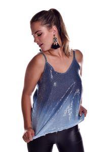 Pailletten Top Träger Party A-Linie Fransen Jeans Look, Farbe: Blau, Größe: S/M