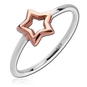 viva-adorno Gr. 57 (18,1 mm Ø) Damen Ring Fingerring Verlobungsring 925 Sterlingsilber Rosegold zweifarbig Stern SR39,