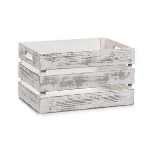 """Zeller Aufbewahrungs-Kiste """"Vintage weiß"""", Holz, 35 x 25 x 20 cm, 15131"""