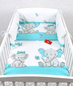 BABYLUX Kinderbettwäsche 2 Tlg. 100 x 135 cm Bettwäsche 111. Elephanten Türkis
