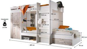 Etagenbett Nils 90'200 cm inklusive Kleiderschrank + Schubkasten + Regale + Lattenrostplatte weiß / grau Hochbett Kinderzimmer Doppel Stockbett