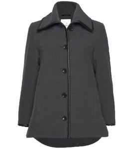 ZHENZI Kurz-Mantel figurschmeichelnde Damen Woll-Jacke im Vokuhila-Style Grau, Größe:M