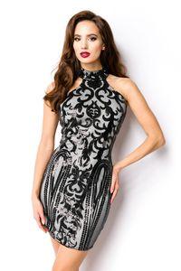 Kurzes Abendkleid mit Pailletten in schwarz Größe  M = 38