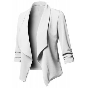 Damen Solid Open Front Cardigan Langarm Blazer Casual Jackenmantel Größe:XXL,Farbe:Weiß