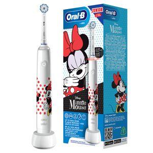 Oral-B Junior Minnie Mouse Elektrische Zahnbürste für Kinder ab 6 Jahren, 360° Andruckkontrolle, weiche Borsten, 3 Putzprogramme inkl. Sensitiv, Timer, weiß