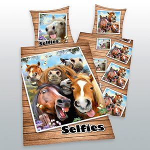 Herding Bettwäsche Selfie Pferde 135 x 200cm Baumwolle Wendemotiv