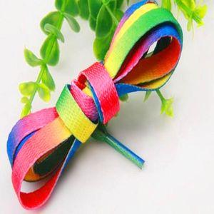 5 Paar sieben Farben (bunte Gradienten) 120cm Männer und Frauen Sportschuhe weiß Segeltuchschuhe, blau, grün und bunten Regenbogen Farbverlauf bunte Schnürsenkel flach