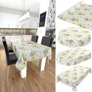 Tischdecke abwaschbar Wachstuch Blumen Straus Oval 140x240 cm Grün