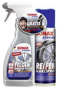 SONAX XTREME FelgenReiniger PLUS 500 ml + XTREME ReifenGlanzSpray Wet Look 300 ml AKTION