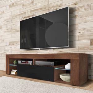 Selsey TV-Schrank BIANKO TV-Lowboard in Holz-Optik Nuss Caravaggio mit Klappe in Schwarz Hochglanz mit LED-Beleuchtung Stehend 140cm