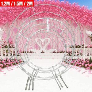 1.5 M Metall Hochzeitsbogen Runde dekorative Hochzeit Rundbogen Hintergrund Requisiten Ballonbogen Eisen Blumenregal für Jubiläumsrahmen Dekoration